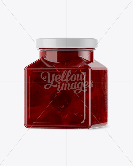 Glass Cherry Jam Jar Mockup - Halfside View