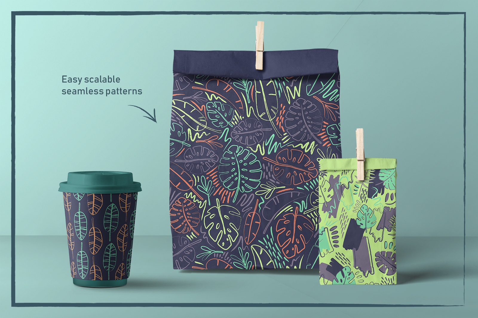 Crazy Tropics. 12 Patterns Set