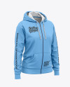 Women's Full-Zip Hoodie - Front Half Side View Of Hooded Sweatshirt