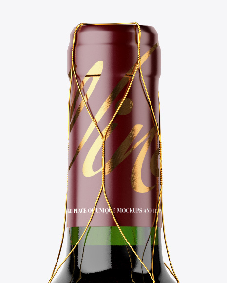 Green Glass Red Wine Bottle with Golden Wire Mockup