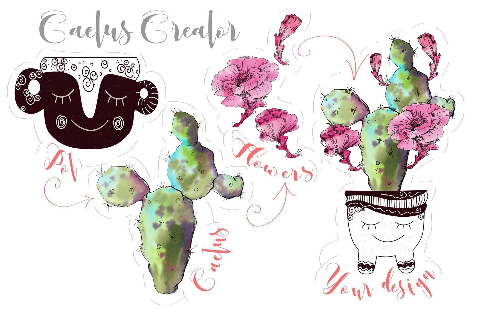 Watercolor Cactus Creator + Pattern