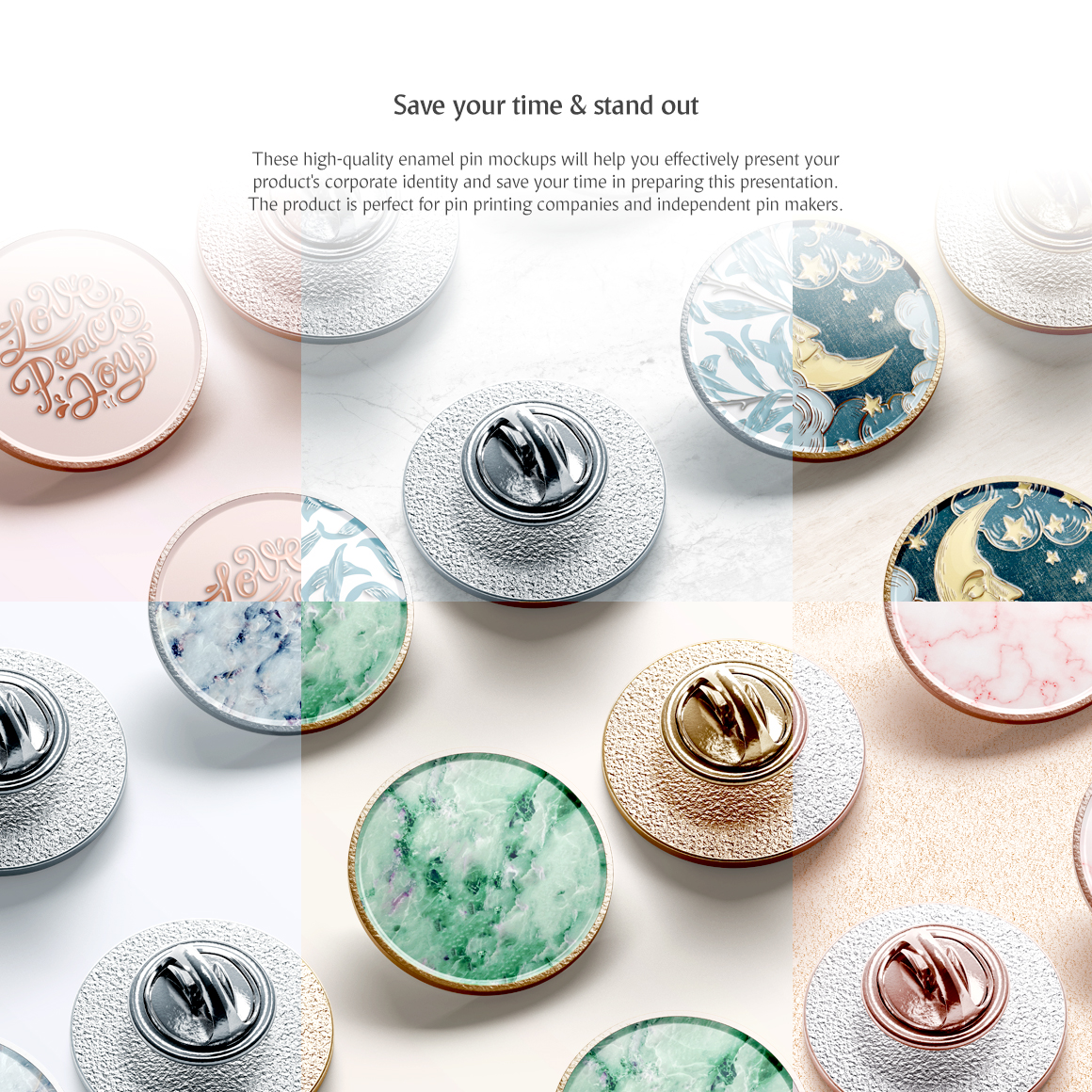 Round Enamel Pin Mockups Set in Stationery Mockups on Yellow Images