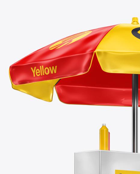 Hot Dog Cart Mockup - Half-Side View