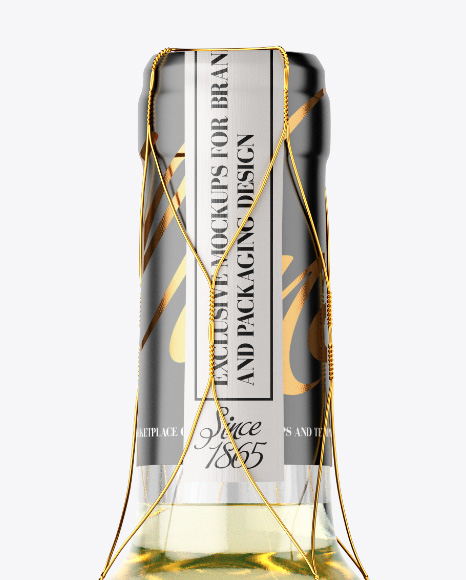 Clear Glass White Wine Bottle with Golden Wire Mockup