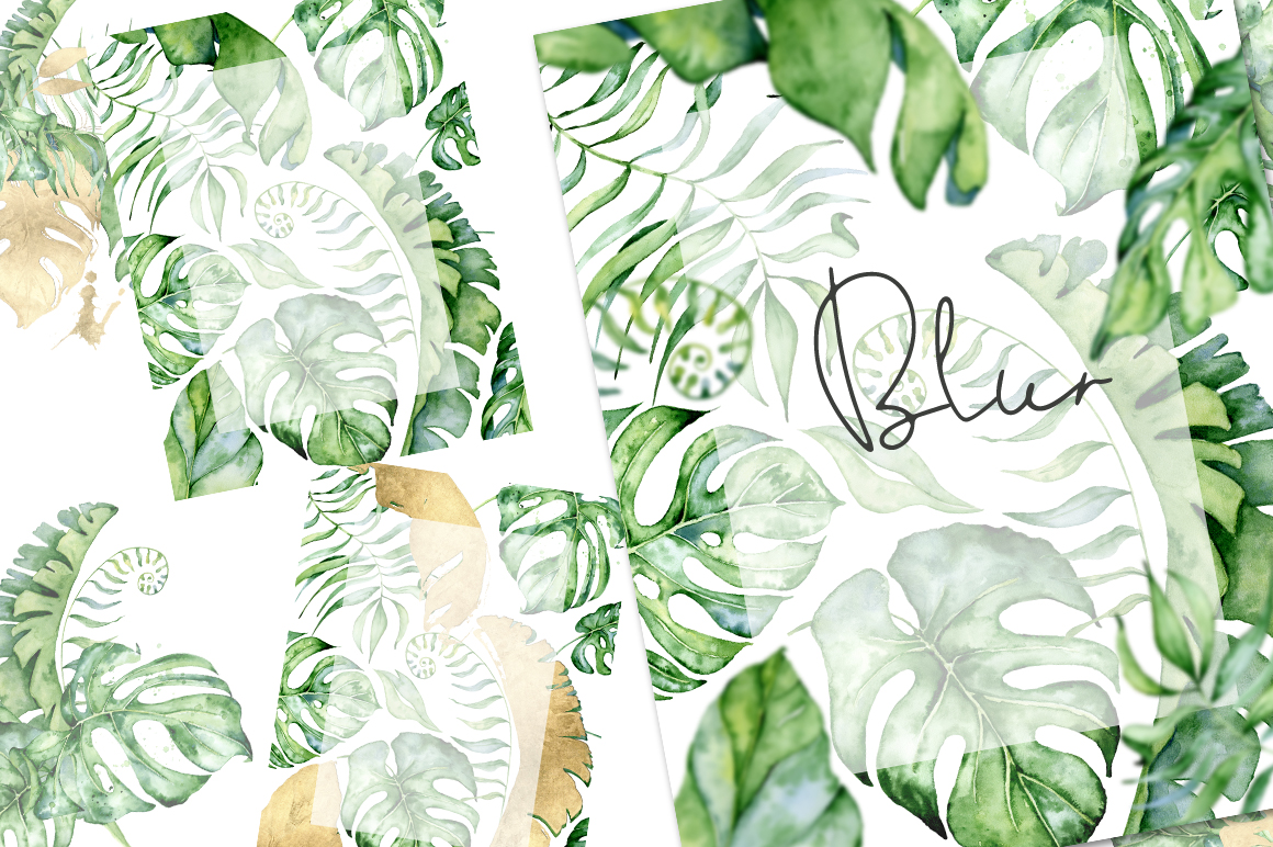 22 Tropical Arrangements watercolor jungle clipart