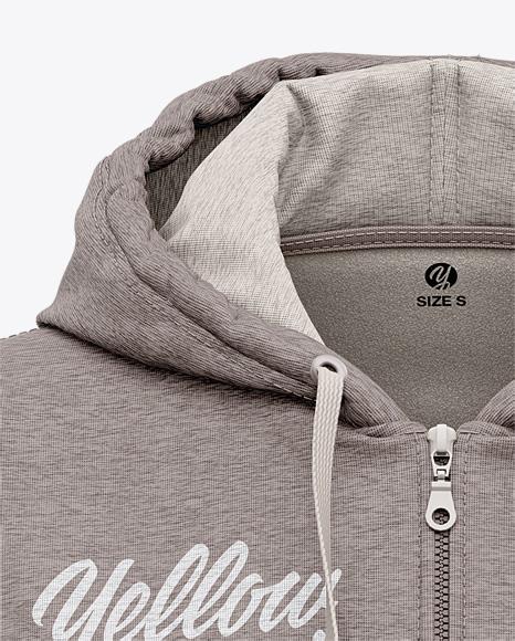 Women's Heather Full-Zip Hoodie - Front View Of Hooded Sweatshirt
