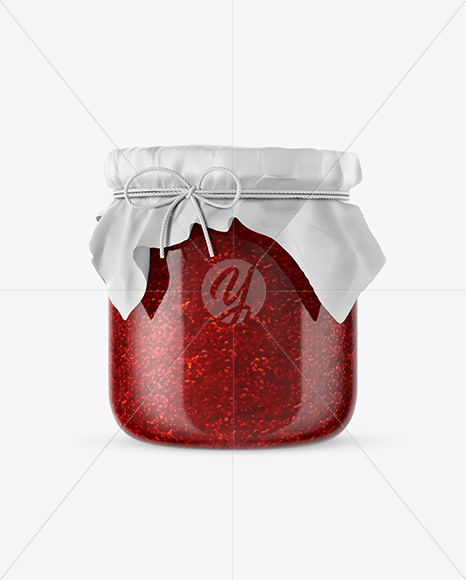 Glass Raspberry Jam Jar w/ Fabric Cap Mockup