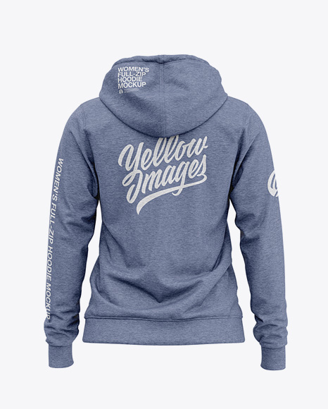 Women's Heather Full-Zip Hoodie - Back View Of Hooded Sweatshirt
