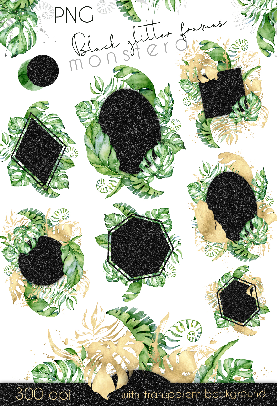44 Tropical watercolor Frames - Gold, Silver, Black glitter
