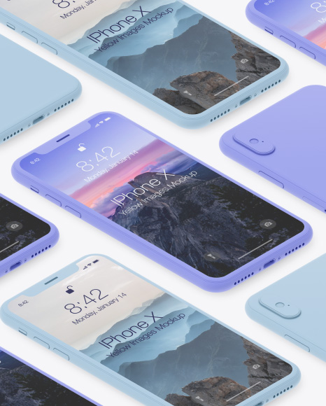 Isometric Clay Apple iPhone X Mockup