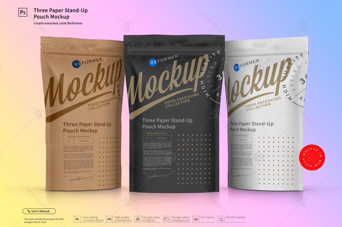 Three Paper Doy Pack Pouch Mockup In Packaging Mockups On Yellow