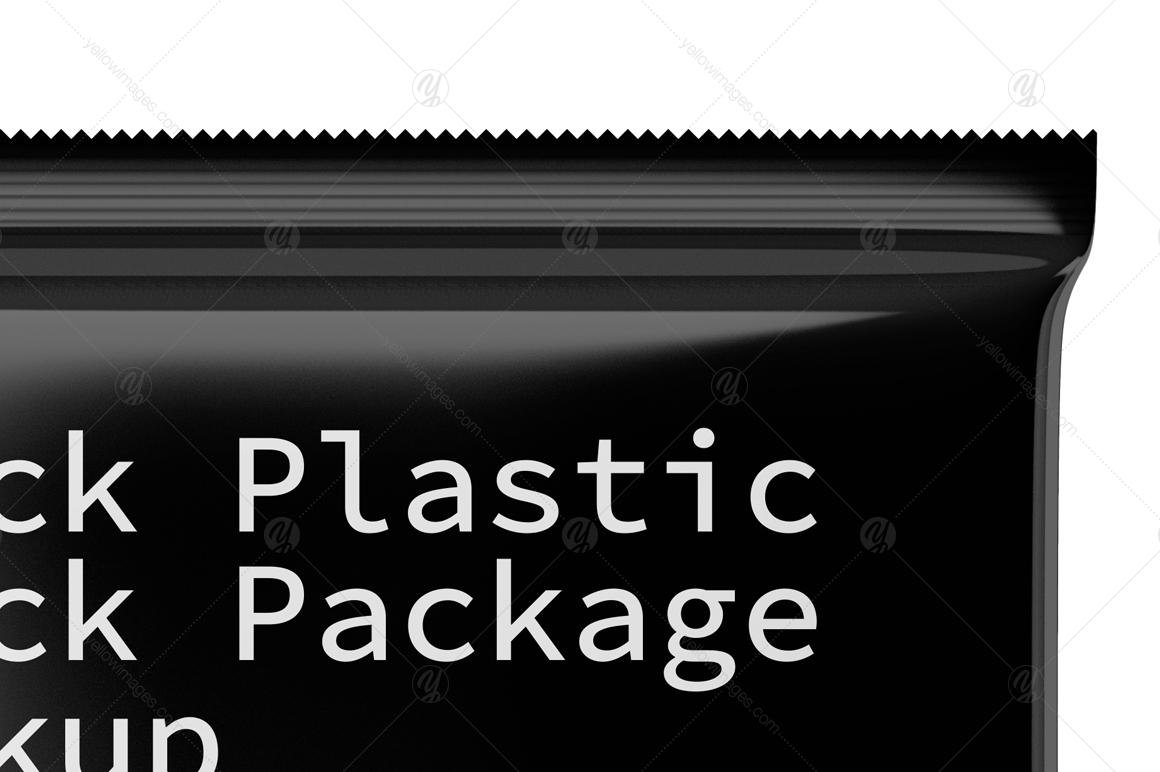 Black Plastic Snack Package Mockup