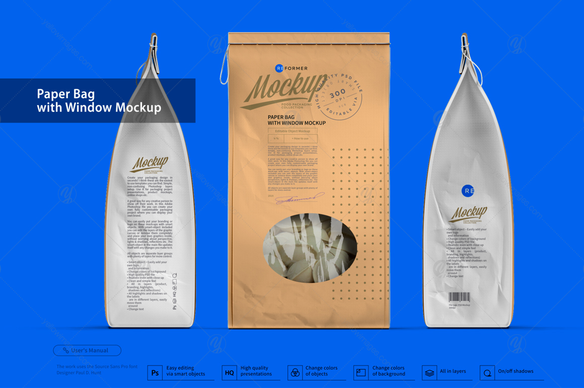 Paper Bag with Window Mockup