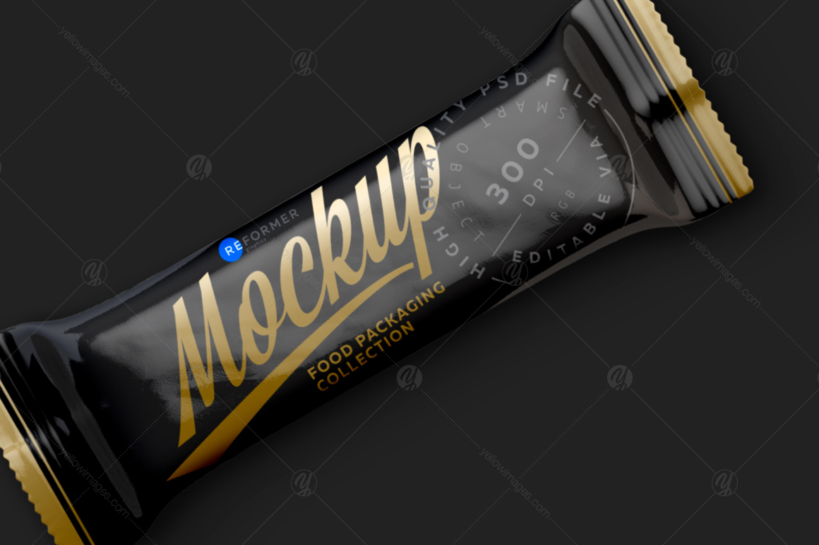 Black Glossy Snack Bar Mockup 80g