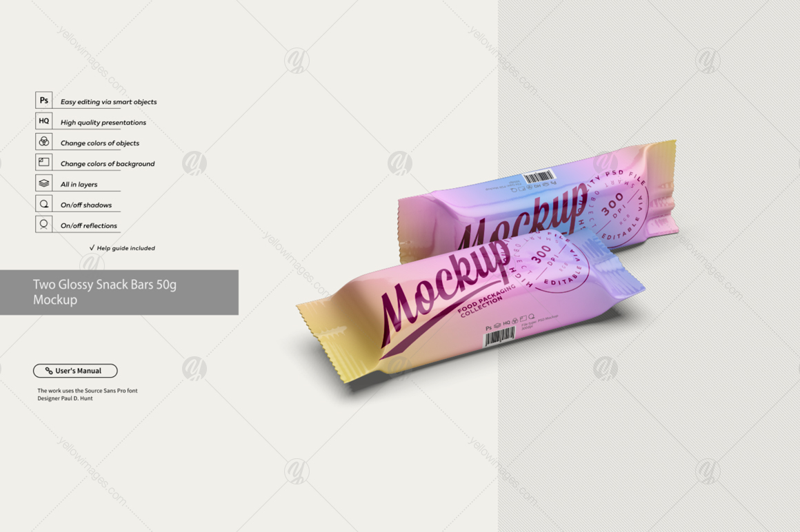 Two Glossy Snack Bars 50g Mockup In Packaging Mockups On Yellow