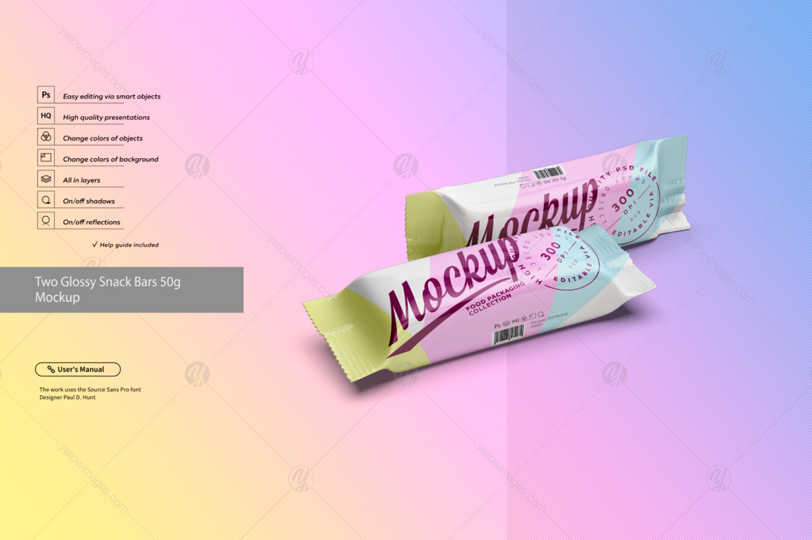 Two Glossy Snack Bars 50g Mockup