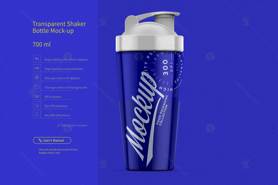 Transparent Shaker Bottle Mock-up 700 ml