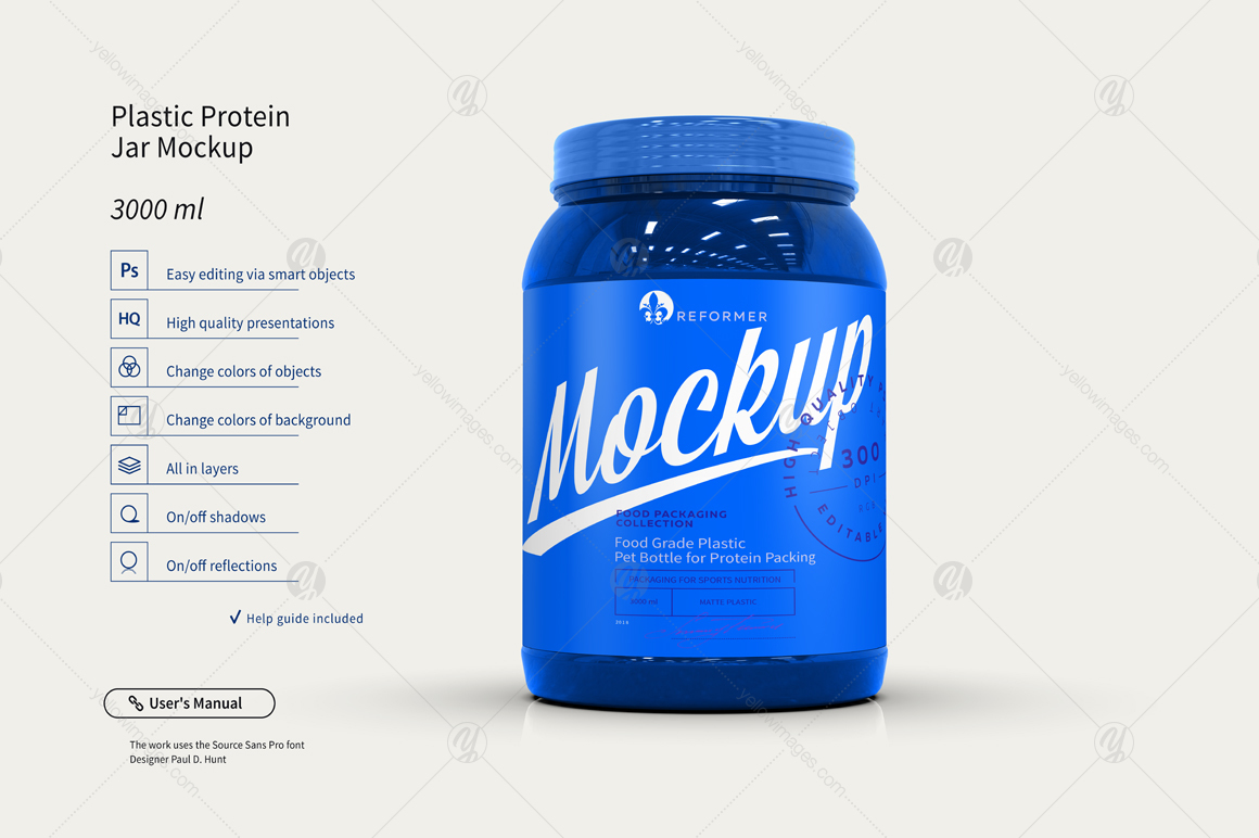 Plastic Protein Jar Mockup 3l In Creative Store On Yellow Images