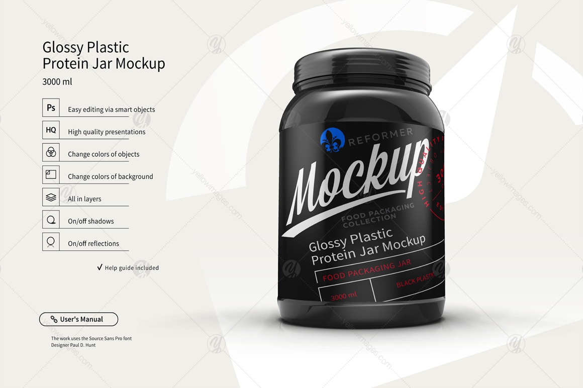 Plastic Protein Jar 2 Mock-Ups Files