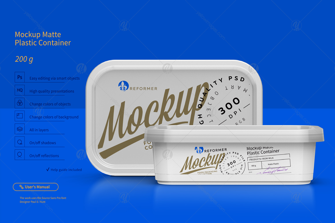 200g Plastic Container Mockup In Packaging Mockups On Yellow