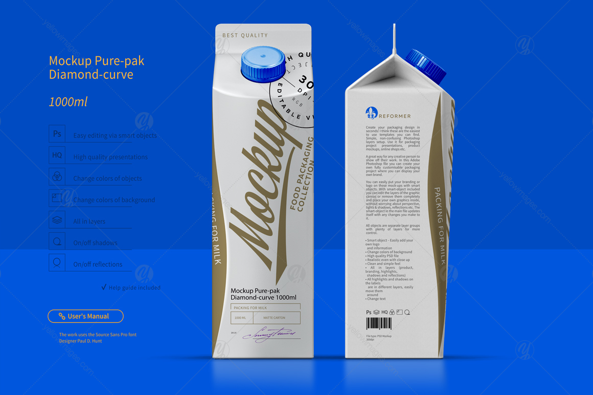 Mockup Pure Pak Diamond Curve 1000ml In Packaging Mockups On