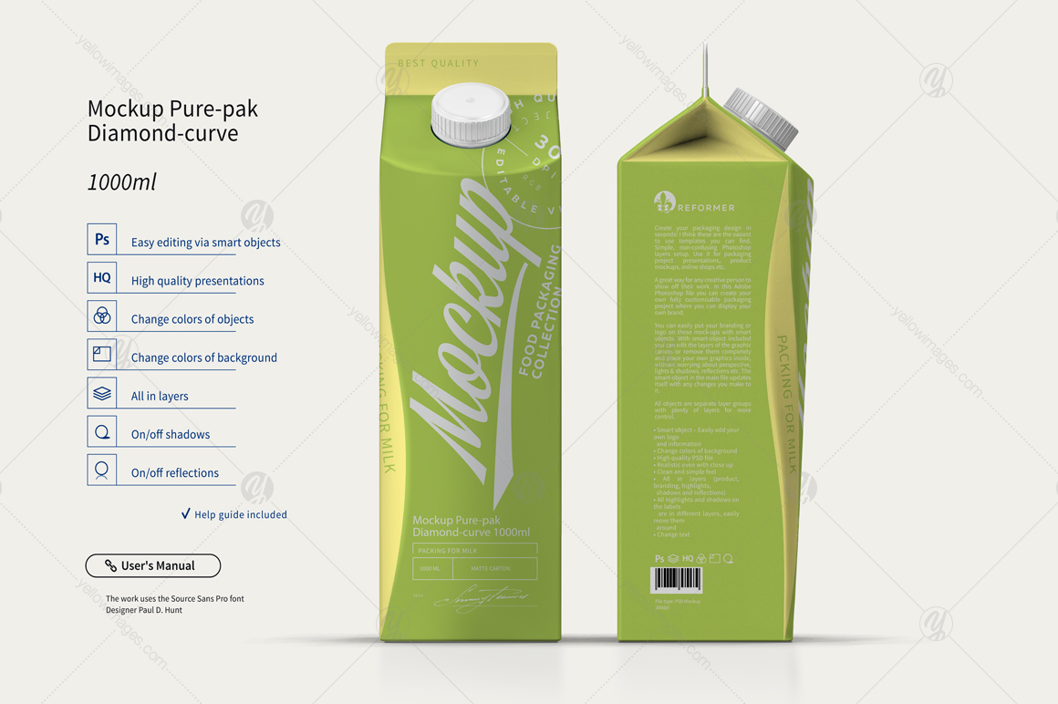 Mockup Pure-pak Diamond-curve 1000ml