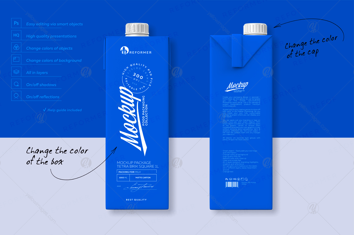 Mockup Poster Package Tetra Brik Square 1l In Packaging Mockups On