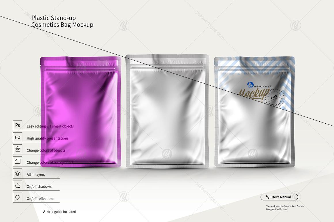 Plastic Stand-up Cosmetics Bag Mockup