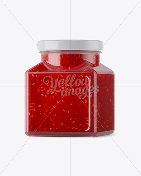 Glass Raspberry Jam Jar Mockup