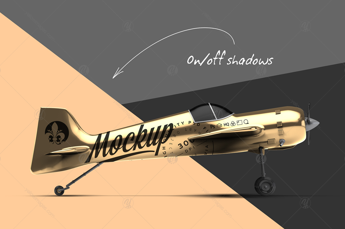 Gold Aerobatic Aircraft Mockup