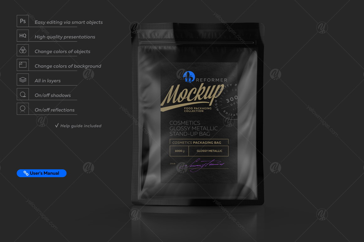 Glossy Black Stand-up Bag Mockup