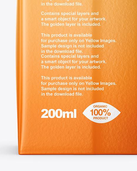 200ml Glossy Juice Carton Package Mockup