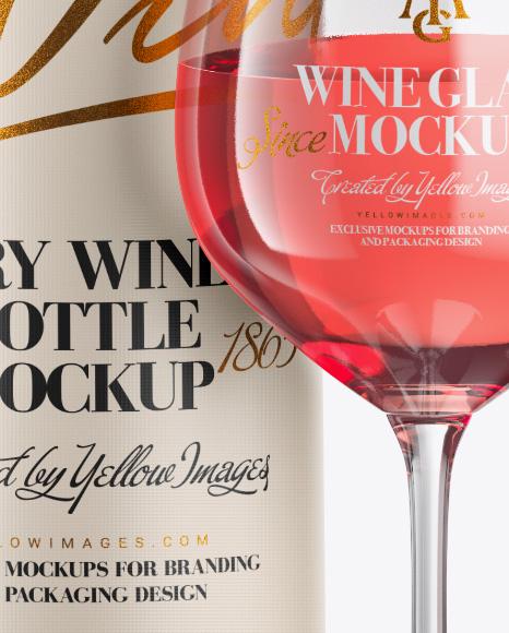 Clear Pink Wine Bottle w/ Glass Mockup