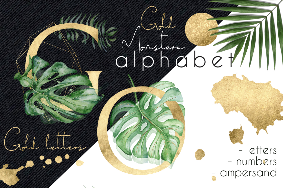 Gold Monstera - tropical leaves alphabet