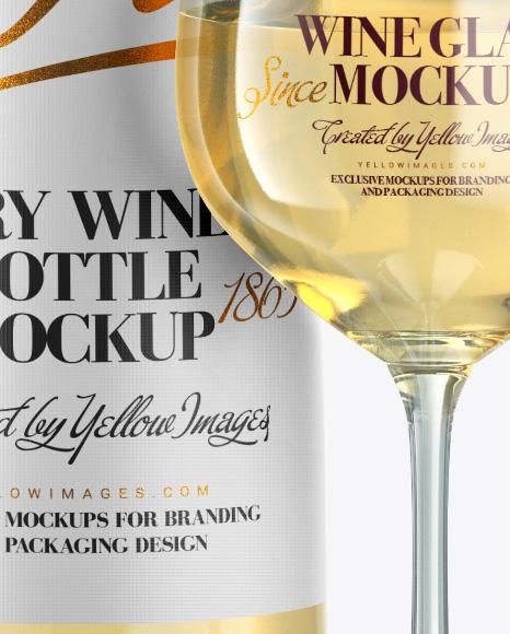 Clear White Wine Bottle w/ Glass Mockup