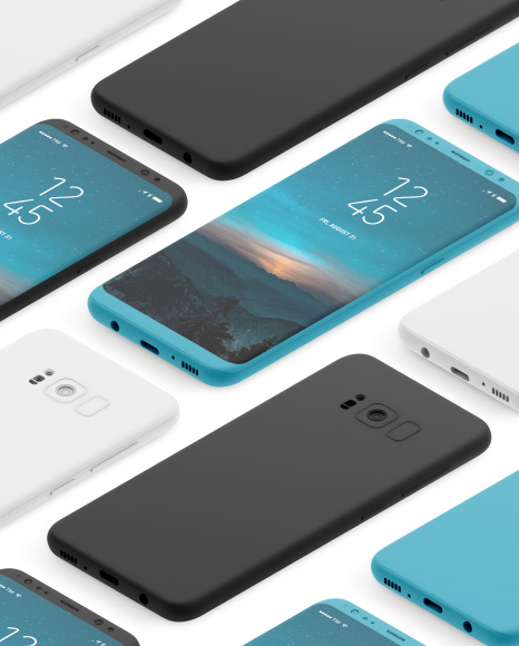 Isometric Clay Samsung Galaxy S8 Mockup
