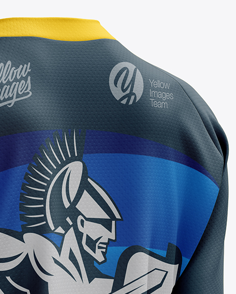 Women's MTB Trail Jersey LS mockup (Back Half Side View)
