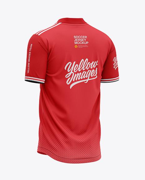 Men's Henley Collar Soccer Jersey Mockup - Back Half-Side View - Football Jersey Soccer T-shirt