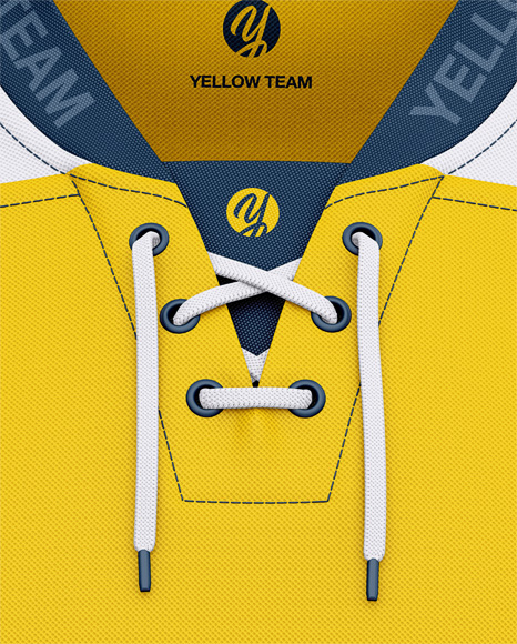 Men's Lace Neck Hockey Jersey Mockup - Front View