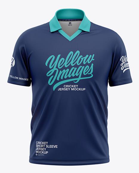 Men's Regular Short Sleeve Cricket Jersey / Polo Shirt - Front View Of Soccer Jersey