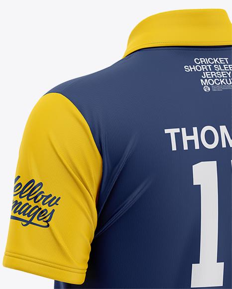 Men's Regular Short Sleeve Cricket Jersey / Polo Shirt - Back Half Side View Of Soccer Jersey