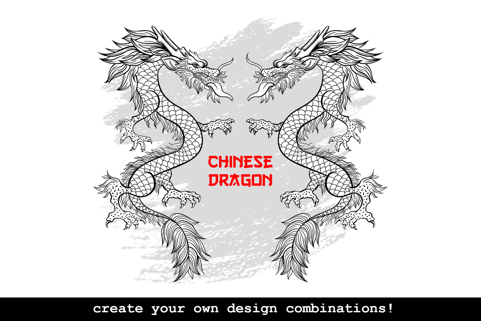 Chinese Dragon Vector Illustrations, Clouds and Patterns