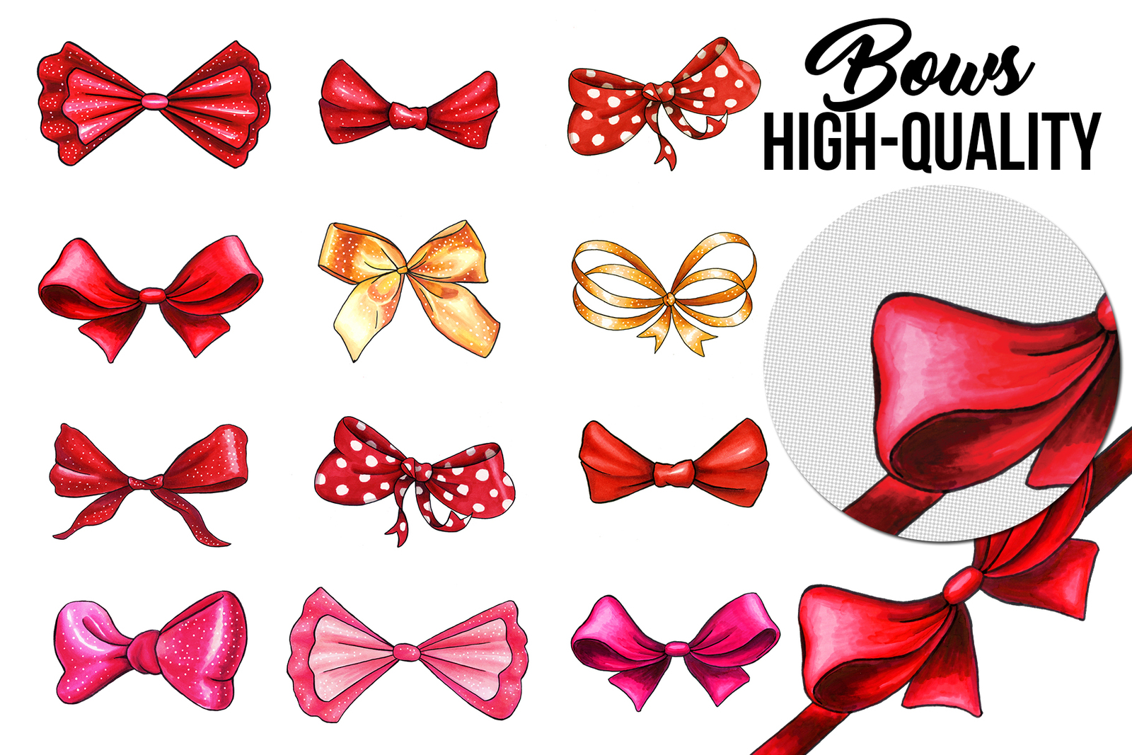 Bows and Ribbons Marker Clipart Collection