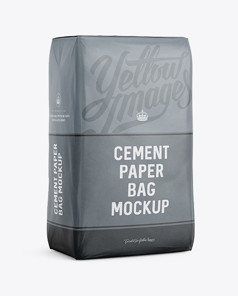 Cement Paper Bag Mockup - Halfside View