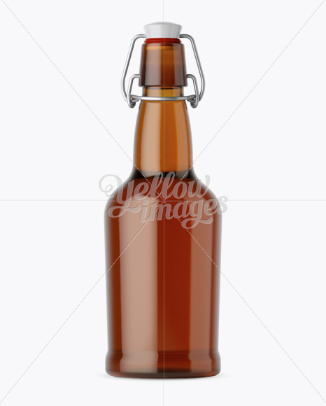 Amber Glass Beugel Bottle w/ Light Beer Mockup
