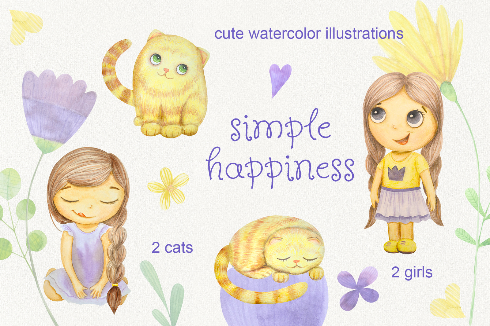 Simple happines. Set of watercolor flowers, leaves, cat and girl