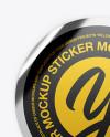 Metallic Textured Round Sticker Mockup