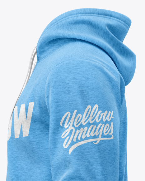 Melange Men's Full-Zip Hoodie Mockup (Side View)
