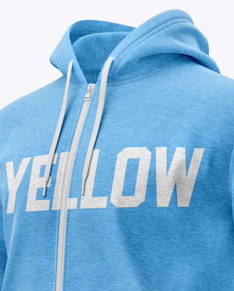 Melange Men's Full-Zip Hoodie Mockup (Half Side View)