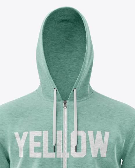 Melange Men's Full-Zip Hoodie Mockup (Front View)
